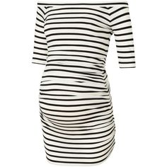 Isabella Oliver Nia Stripe Off Shoulder Maternity Top ($63) ❤ liked on Polyvore featuring maternity and maternity clothes