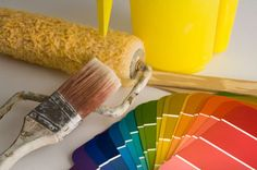 Paint color samples and other house painting tools are ready for a maintenance project - YinYang/E+/Getty Images House Paint Interior, Interior Paint Colors, Interior Painting, Interior Design, Building Painting, Painting Tools, Time Painting, Painting Shutters, Paint Prep
