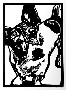 Our dog, the Welsh Corgi Cardigan mixed with the Jack Russell Terrier. Two years already free from the asylum! #Lino #graphic #printmaking #grafiek   Atelier Rexwinkel®2012