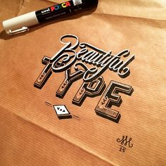Type can be so beautiful right? This was a fun little project! I simply love the effect the white and the shadows have on this brown paper  #beautiful #posca #surfacetype