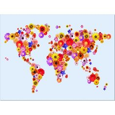 flowers world map