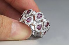 (1.1 Carat Ruby Engagement Ring, Diamonds, 14K White Gold)