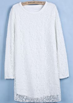 White Long Sleeve Embroidered Lace Straight Dress US$37.38