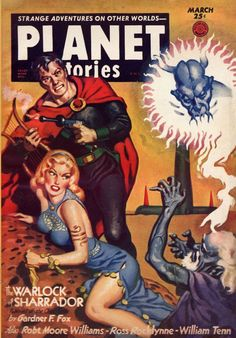 Planet Stories 71 pulp sized issues about half of the covers! Cover art by Allan Anderson, Virgil Finlay, Frank R. Arte Sci Fi, Sci Fi Art, Classic Sci Fi, Classic Comics, Book Cover Art, Comic Book Covers, Comics Vintage, Science Fiction Kunst, Planet Comics