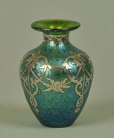 Loetz Art Nouveau Iridescent Glass Vase with Silver Overlay, 1890, Austria