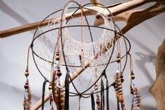 Petrified Wood - Orb DreamCatcher | petrified wood centre pendant | quadruple hoop weave | pheasant & guinea feathers | SOLD at Zenporium