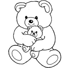 big teddy bear hugging little teddy bear coloring page