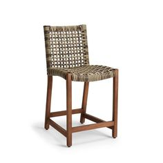 Isola Counter Stool In Natural Finish - Frontgate Woven Bar Stools, Counter Stools With Backs, Outdoor Bar Stools, Stools For Kitchen Island, Counter Height Bar Stools, Wood Counter, Island Chairs, Bar Counter