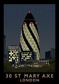 Great prices on your favourite Home brands, and free delivery on eligible orders. Norman Foster, Poster Vintage, Vintage Travel Posters, Poster Pictures, Art Pictures, Gherkin London, 30 St Mary Axe, Art Deco Illustration, Lobbies