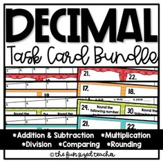 Decimal Operations Task Card Bundle by The Fun Sized Teacher Math Resources, Math Activities, Division Math Games, Math Graphic Organizers, Elementary Math, Upper Elementary, Teaching Math, Maths, Teaching Ideas