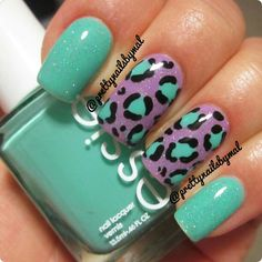 Leopard print and glitter! Play Date, Turquoise and Caicos by Essie and Fairy Dust by China Glaze