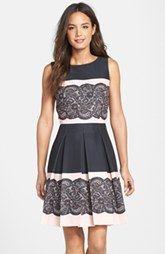 Tahari Lace Print Pleated Fit & Flare Dress (Regular & Petite)
