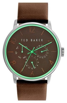 Subtle numbered indexes enhance the clean style of a minimalist round watch complete with handy day, date and 24-hour subdials. Brand: Ted Baker London Gender: Unisex Dial Color: Green Accented Brown