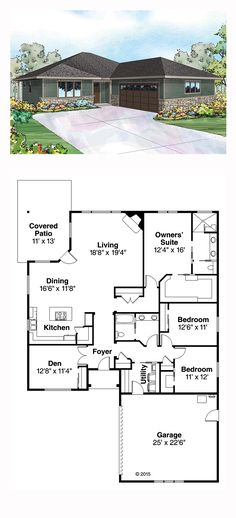 Prairie House Plan 60941 | Total Living Area: 2195 sq. ft., 3 bedrooms and 2 bathrooms. #prairiehome