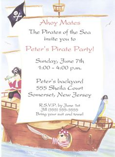 Image detail for -pirate invitation pirate birthday party invitations previous in kids ...