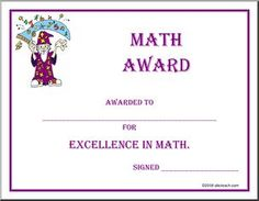 Math achievement award printable certificate pdf math activites certificate math award awarded to for excellence in math math certificate for middle school high school and homeschool yelopaper Choice Image