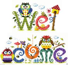 """""""Owl welcome"""" Counted cross stitch pattern leaflet. SO-G64"""