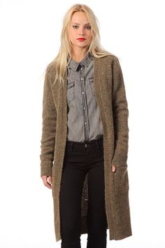 Object Collectors Item Cardigan Abigael Knit Long Cardigan in Brown (green) - Lyst