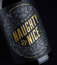 Naughty & Nice - Hand drawn illustration and gold foil - Love these luxury labels! www.mrp.uk.com