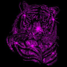 Strass Bügelbild Motiv Tiger in der Farbe Pink. Erhältlich im Webshop:  www.strassbuegelbilder.com