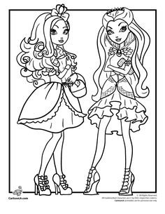 Ever After High Coloring Pages Ever After High Royals & Rebels - Apple White & Raven Queen – Cartoon Jr.