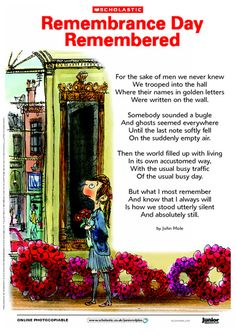 Introduce Remembrance Day with John Mole's poignant poem 'Remembrance Day Remembered'. Remembrance Day Poems, Remembrance Day Activities, Poppy Craft, Armistice Day, Anzac Day, Lest We Forget, Elementary Music, Girl Guides, God Bless America