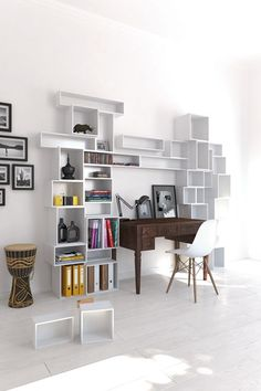 Bookshelf Desk - Bookshelf Ideas - Living Room  Study Design Ideas (houseandgarden.co.uk)