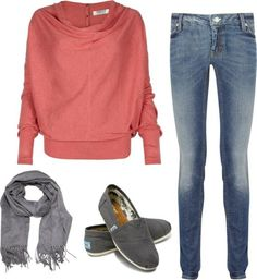 *I love the sweater. Especially for fall. *I wish the scarf was an infinity scarf. *I absolutely loveeee the shoes. <3 *I would change the pants into a skirt.