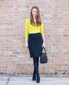 Neon yellow green sweater, black pencil skirt, tights, Kate Spade quilted satchel, black pumps, work wear, winter work wear.