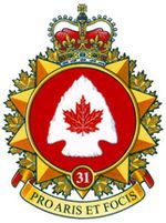 31 Canadian Brigade Group (31CBG; French: 31e Groupe-brigade du Canada) is part of the 4th Canadian Division, under the Canadian Army. It encompasses the southwestern portion of Ontario, and is headquartered in London, Ontario. The 31 CBG area of responsibility stretches from Hamilton to Windsor. The brigade has approximately 2000 soldiers. 31st (Reserve) Brigade Group was created, within 1 Militia District, on 1 April 1942. Canadian Army, Military History, Marines, No Time For Me, Patches, Canada, The Unit, Letterhead, Commonwealth