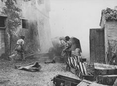 British Gunners firing anti-tank QF 17 pounder on the streets of an Italian city 1944 Italian Campaign, Military Weapons, World War, Wwii, Novels, Guns, British, Italy, History
