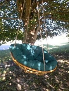 Porch swing: start looking at yard sales for one of these old chairs, ditch the legs and make a swing Hanging Swing Chair, Hammock Swing, Swinging Chair, Hammocks, Old Chairs, Dining Chairs, White Chairs, Lounge Chairs, Wooden Chairs
