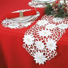 White Poinsettia Table Runner & Place Mats