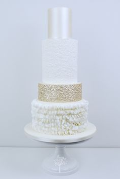 Champagne Ruffle wedding cake by Blossom Tree Cake Company, Harrogate, North Yorkshire