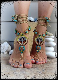 Beaded Yggdrasil TREE of life BAREFOOT SANDALS Turquoise por GPyoga