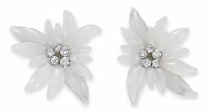 Lot 369 - A GROUP OF TWO CHALCEDONY AND DIAMOND 'EDELWEISS' FLOWER BROOCHES, BY SUZANNE BELPERRON