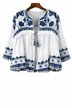 SheIn offers Blue White Knotted Embroidered Crop Outerwear & more to fit your fashionable needs. Shirt Embroidery, Embroidery Fashion, Floral Embroidery, Vintage Embroidery, Folk Fashion, Womens Fashion, Trendy Fashion, Ethnic Fashion, Street Fashion
