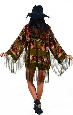 Floral Beaded Fringe Kimono - Olive - Saltwater Gypsy