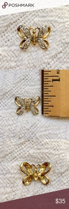 Solid 10k gold butterfly slide pendant Very pretty butterfly slider pendant.  The pendant is solid 10k yellow gold with white gold accents, stamped 10k.  The slide will fit a chain up to 4mm wide.  The pendant is about 1/2 an inch tall and in like new condition. Jewelry Necklaces