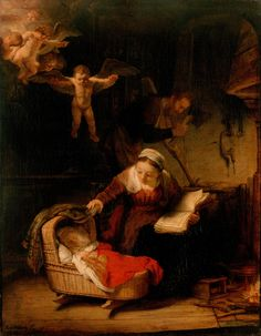 Rembrandt 'The Holy Family' 1645 oil on canvas, Hermitage Museum  Rembrandt Harmenszoon van Rijn (1606 – 1669) painter and etcher of the Dutch Golden Age.