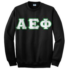 This Gildan unisex crewneck sweatshirt is made specifically for Alpha Epsilon Phi Sorority. This crewneck comes with 4-inch twill sewn-on Alpha Epsilon Phi Greek letters on the front.