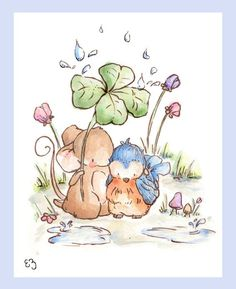 Children Art Print. Mouse and His Bird. PRINT 8X10.Nursery Art