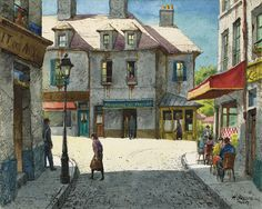 """""""Paris Street Scene, August,"""" Henry Martin Gasser, watercolor and pen and ink on card stock, 8 x 10"""", private collection."""