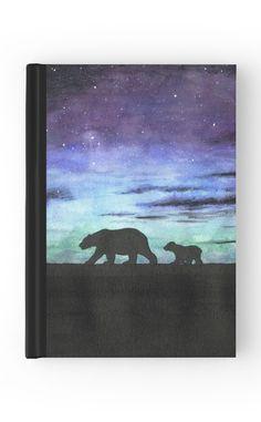 """Aurora borealis and polar bears (dark version)"" Hardcover Journal by…"