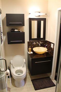 Cool small bathroom vanity Onyx vessel sink and espresso wall-mounted cabinet http://bauformatusa.com/