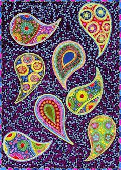 "Colorful Paisley Pattern Original Drawing - 8.3x11.7"" (A4) Art Print, Wall Decor, Illustration, Poster, Pens, Crayons, Pencils  from Poland, etsy: enchanted crayons"