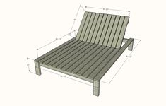 Modern Double Outdoor Chaise Lounger | Ana White Outdoor Furniture Design, Diy Furniture Couch, Backyard Furniture, Patio Lounge Chairs, Lounge Cushions, Outdoor Chairs, Double Chaise Lounge Outdoor, Outdoor Loungers, Diy Dresser Plans