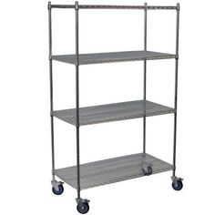 These mobile wire carts are constructed to the highest quality standards and feature rust resistant chrome plating. This practical storage unit is perfect for the kitchen, office and other dry Plastic Shelving Units, Steel Shelving Unit, Wire Shelving Units, Shelving Racks, Plastic Storage Totes, Plastic Container Storage, Garage Storage Shelves, Wire Storage, Commercial Shelving