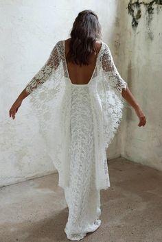spitze weiss hochzeitskleid lang boho stil