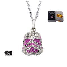 Body Vibe - women's Stormtrooper pendant with clear gems and pink enamel